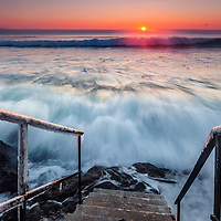 Stairway into the winter sea