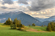 The church St. Maria in Lenz with the Piz Mitgel, Parc Ela, Grisons, Switzerland