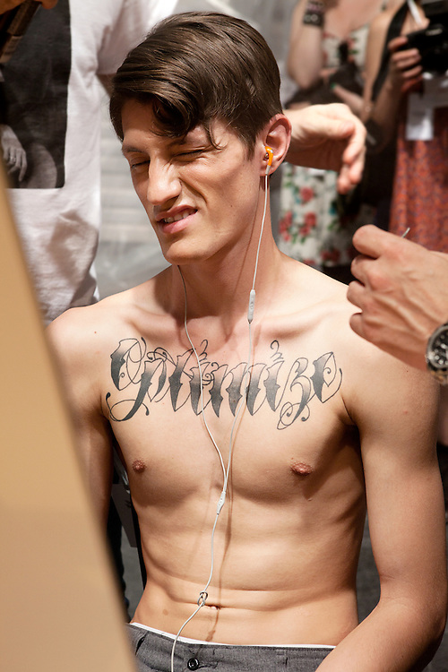 Milan, Italy, June the 24th, 2012. Backstage at Vivienne Westwood, Men's Fashion Week, Spring/Summer 2013. Reportage for Cosmopolitan Germany.