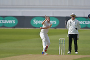 Harry Gurney in his delivery stride during the Specsavers County Champ Div 1 match between Nottinghamshire County Cricket Club and Durham County Cricket Club at Trent Bridge, West Bridgford, United Kingdom on 29 May 2016. Photo by Simon Trafford.