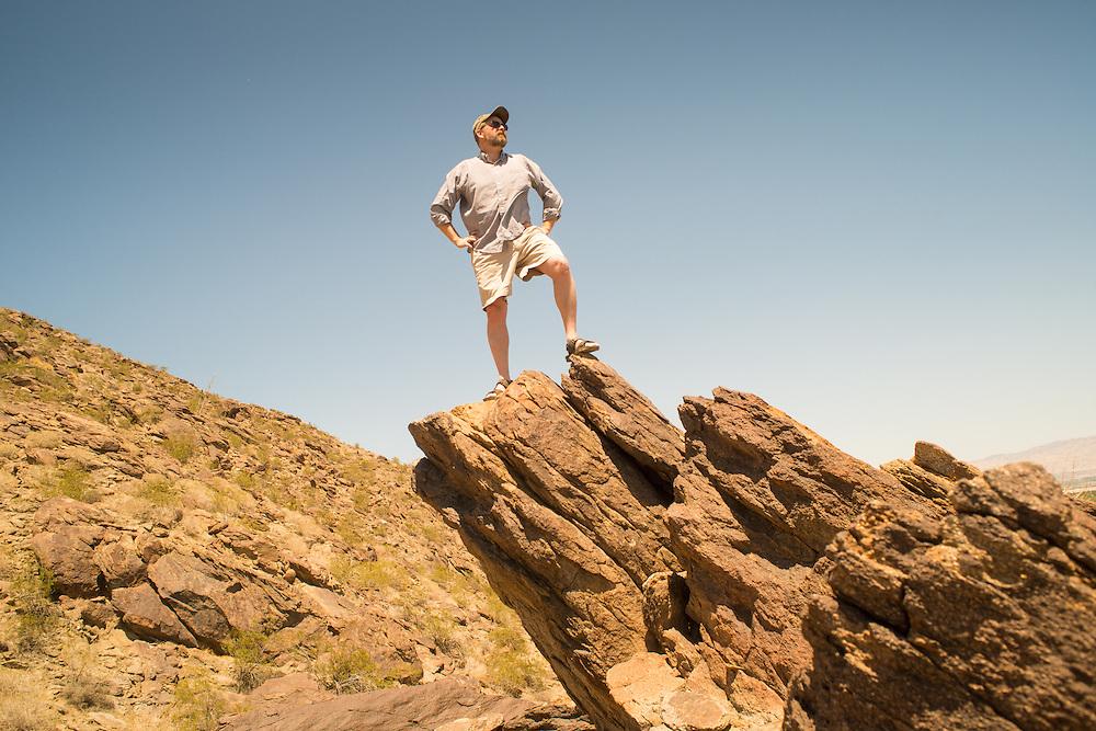 Man standing on rocks near Palm Springs, California