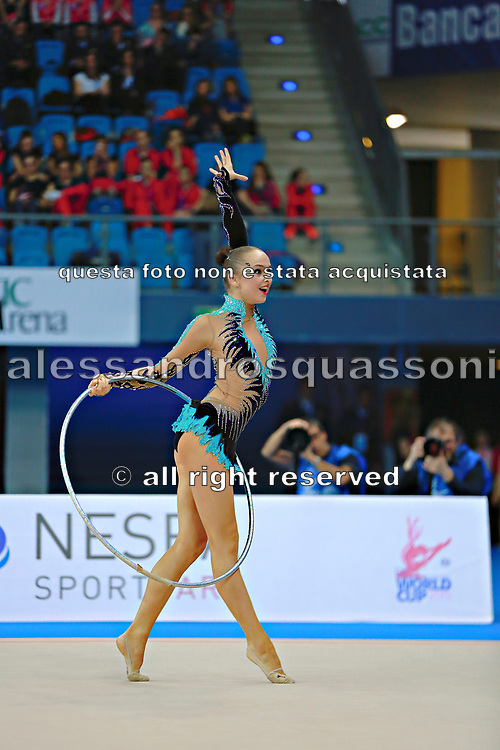 Durunda Marina during final at hoop in Pesaro World Cup 12 April 2015.<br /> Marina is a Azerbaijani individual rhythmic gymnast of Ukrainian origin, she born on June 12, 1997 in Sevastopol.