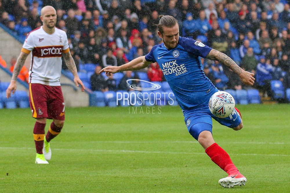 Peterborough United forward Jack Marriott strikes at goal during the EFL Sky Bet League 1 match between Peterborough United and Bradford City at London Road, Peterborough, England on 9 September 2017. Photo by Aaron  Lupton.