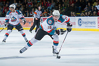 KELOWNA, CANADA - DECEMBER 27:  Cody Fowlie, #18 of the Kelowna Rockets skates on the ice against the Kamloops Blazers at the Kelowna Rockets on December 27, 2012 at Prospera Place in Kelowna, British Columbia, Canada (Photo by Marissa Baecker/Shoot the Breeze) *** Local Caption ***