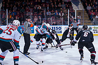 KELOWNA, CANADA - MARCH 7:  Conner Bruggen-Cate #20 of the Kelowna Rockets and Davis Koch #16 of the Vancouver Giants fight for the puck after the face off during second period on March 7, 2018 at Prospera Place in Kelowna, British Columbia, Canada.  (Photo by Marissa Baecker/Shoot the Breeze)  *** Local Caption ***