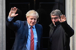 © Licensed to London News Pictures. 08/10/2019. LONDON, UK.  Boris Johnson, Prime Minister, and David Sassoli, President of the European Parliament, outside Number 10 Downing Street.  Photo credit: Stephen Chung/LNP