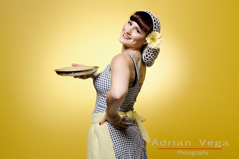 Cute pin up with classic baking theme and pie