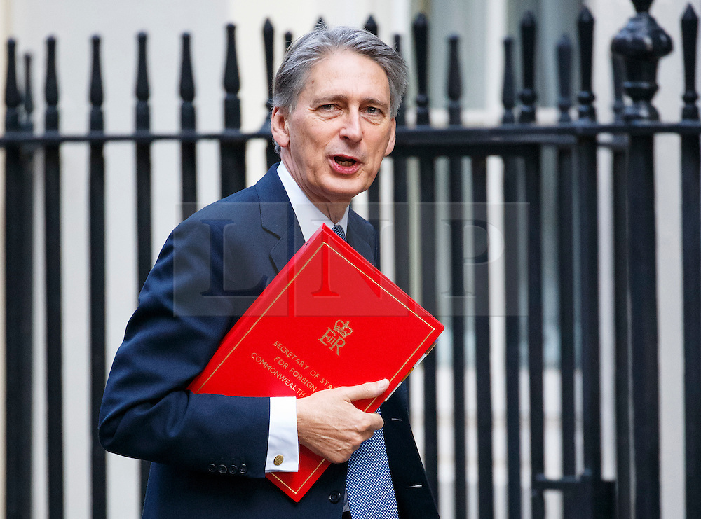 © Licensed to London News Pictures. 13/10/2015. London, UK. Foreign Secretary PHILIP HAMMOND attending to a cabinet meeting in Downing Street on Tuesday, 13 October 2015. Photo credit: Tolga Akmen/LNP
