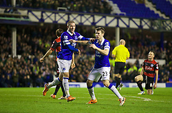 LIVERPOOL, ENGLAND - Saturday, January 4, 2014: Everton's Seamus Coleman celebrates scoring the fourth goal against Queens Park Rangers during the FA Cup 3rd Round match at Goodison Park. (Pic by David Rawcliffe/Propaganda)