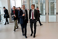 &nbsp;Maurizio Gentile, CEO of Italian Railway Network with Graziano Delrio, Minister of Infrastructure, during the presentation of the new services plate.<br /> Presented the new services plate to Rome's Termini railway station, new surfaces for 6,500 square meters. Of which 4,550 dedicated to food &amp; beverage and logistics. Approximately 870 tons of steel and 1,000 cubic meters of concrete. For a total investment of 125 million euro. Rome, Italy. 23th February  2016