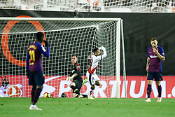November 3, 2018 - Madrid, MADRID, SPAIN - Alvaro of Rayo celebrates the goal during the Spanish Championship, La Liga, football match between Rayo Vallecano and FC Barcelona on November 03th, 2018 at Estadio de Vallecas in Madrid, Spain. (Credit Image: © AFP7 via ZUMA Wire)