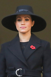 © Licensed to London News Pictures. 10/11/2019. London, UK. Meghan, Duchess of Sussex attend the Remembrance Sunday ceremony at the Cenotaph memorial in Whitehall, central London. Remembrance Sunday is held each year to commemorate the service men and women who fought in past military conflicts. Photo credit: Dinendra Haria/LNP