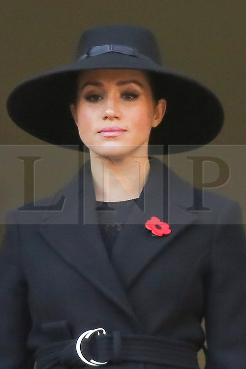 © Licensed to London News Pictures. 10/11/2019. London, UK.Meghan, Duchess of Sussex attend the Remembrance Sunday ceremony at the Cenotaph memorial in Whitehall, central London. Remembrance Sunday is held each year to commemorate the service men and women who fought in past military conflicts. Photo credit: Dinendra Haria/LNP
