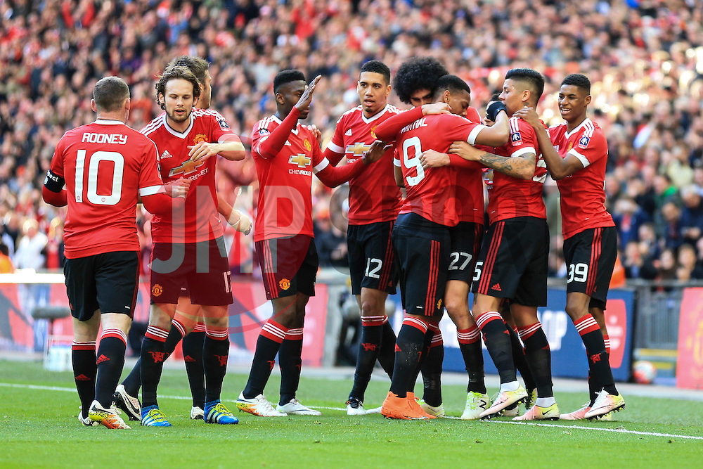 Goal, Marouane Fellaini of Manchester United scores, Everton 0-1 Manchester United - Mandatory byline: Jason Brown/JMP - 07966386802 - 23/04/2016 - FOOTBALL - Wembley Stadium - London, England - Everton v Manchester United - The Emirates FA Cup