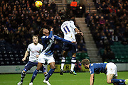 Preston North End Midfielder Daniel Johnson battles with Birmingham City midfielder Demarai Gray during the Sky Bet Championship match between Preston North End and Birmingham City at Deepdale, Preston, England on 15 December 2015. Photo by Pete Burns.