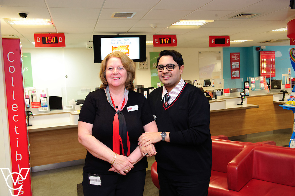 Pictured is Jane Sharpe with her colleague Adeel Shabir<br /> <br /> Jane Sharpe, who works at Peterborough Post Office, has been nominated as a One Hero by her colleague Adeel Shabir.  <br /> <br /> Date: February 4, 2016