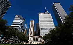 The Wrigley building, ChicagoThe Millennium monument in Millennium Park, Chicago