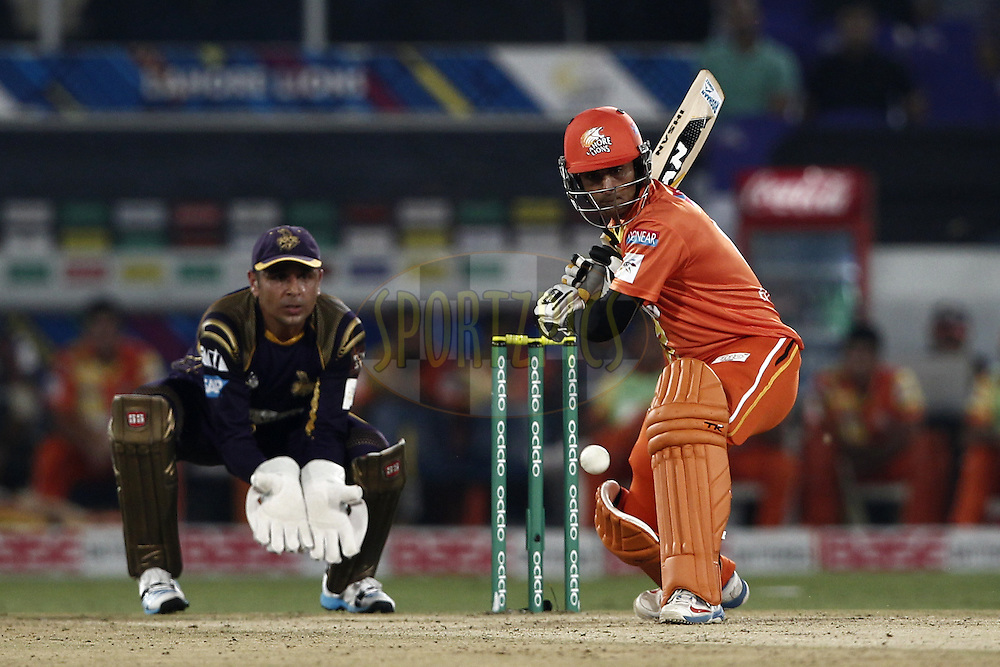 Mohammad Hafeez Captain of the LAHORE LIONS during match 7 of the Oppo Champions League Twenty20 between the Kolkata Knight Riders and the Lahore Lions held at the Rajiv Gandhi Cricket Stadium, Hyderabad, India on the 21st September 2014<br /> <br /> Photo by:  Deepak Malik / Sportzpics/ CLT20<br /> <br /> <br /> Image use is subject to the terms and conditions as laid out by the BCCI/ CLT20.  The terms and conditions can be downloaded here:<br /> <br /> http://sportzpics.photoshelter.com/gallery/CLT20-Image-Terms-and-Conditions-2014/G0000IfNJn535VPU/C0000QhhKadWcjYs