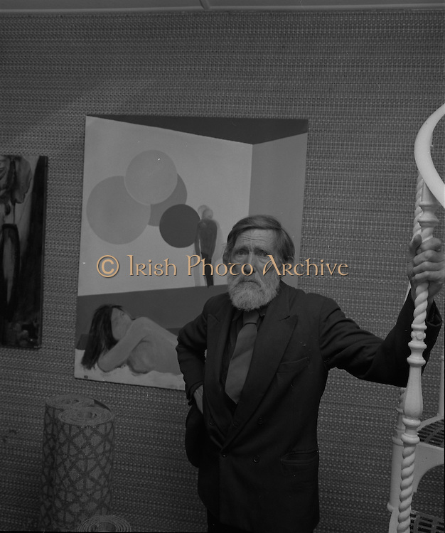 "04/07/1969.07/04/1969.4th July 1969.Sean Keating at an exhibit of a representative selection of the exhibits in the RTE Regional Arts awards from Limerick  shown in the Tintawn showroom in South KIng Street, Dublin...Sean Keating.Sean Keating (1889-1977).Portrait and figure painter, John Keating was born in Limerick on 28th September 1889...Examples: Armagh: County Museum. Ballinasloe, Co. Galway: St Joseph's College. Beijing: Irish Embassy. Belfast: Dublin Institute for Advanced Studies; Merrrion; Church of the Holy Spirit, Ballyroan; Co. Dublin Vocational Education Committee;.Literature: Royal Dublin Society Report of Council, 1""4; The Studio, May 1915, July 1917, September 1923 (also illustration), July 1914, October 1924, November 1951; Seumas O'Brien, The Whale and the Grasshopper, Dublin 1920 (illustration); Dublin Magazine, December 1923 (illustration), October 1924 (illustration), July- September 1943, October-December 1946; John M. Synge, The Playboy of the Western World, London 1927 (illustrations); J. Crampton Walker, Irish Life and Landscape, Dublin 1927 (also illustration); Mary MacCarvill, Rhymer's Wake, London 1931 (illustration); Bulmer Hobson, ed., Saorsalt Eireann Official Handbook, Dublin 1932 (illustrations); Father Mathew Record, June 1934, October 1941 (also illustration); Ireland To-Day, August 1937, December 1937, Patncial Lynch, The Grey Goose of Kilnevin, London 1939 (illustrations); Thomas Bodkin, intro., Twelve Irish Artists, Dublin 1940 (also illustration); The Bell, June 1942; Municipal Gallery of Modem Art, John Keating Paintings-Drawings, catalogue, Dublin, 1963; The Word, April 1965; Irish Independent, 26 January 1967; Kenny Art Gallery, Exhibition of paintings by Sean Keating, RHA and sculptures by Carolyn Mulholland, catalogue, Galway 1968; London 1986 (also illustration); Ann M. Stewart, Royal Hibernian Academy of Arts: Index of Exhibitors 1826-1979, Dublin 1986; Touring Exhibitions Service, Sean Keating and the ESB, catalogue, Du"