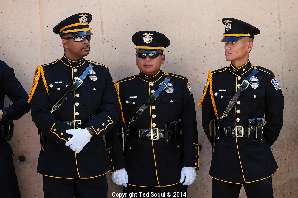 LAX Airport Police Honor Guard.<br /> Funeral Mass for LAPD Officer Roberto Sanchez held at the Cathedral of Our Lady of the Angels in Los Angeles. Officer Sanchez was killed while on duty during a police pursuit, when a suspects vehicle intentionally rammed Sanchez's LAPD cruiser.