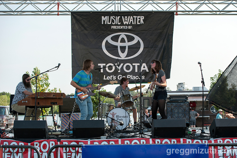 Marshall Poole (L to R: Seth Graham, Rider Soran, Michael Hoobery, Melanie Radford) performs at Music on the Water at Esther Simplot Park in Boise, Idaho on August 19, 2017.<br /> <br /> Marshall Poole members:  Melanie Radford (vox, bass), Rider Soran (vox, lead guitar), Michael Hoobery (percussion), and Seth Graham (keyboards, rhythm guitar).<br /> <br /> Current location: Boise, Idaho