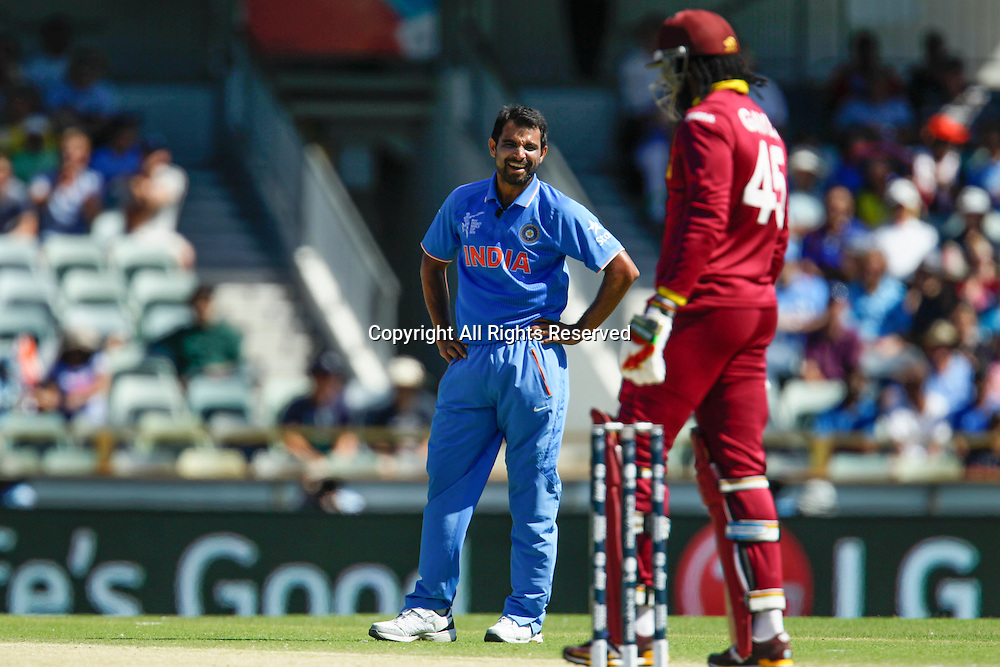 06.03.2015. Perth, Australia. ICC Cricket World Cup. India versus West Indies. M.D. Shami can't believe Chris Gayle didn't snick the ball.