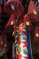 A colourful pillar inside the Cantonese Assembly Hall in the old town of Hoi An, Vietnam