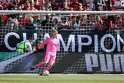 July 28, 2018 - Ann Arbor, Michigan, United States - Goalkeeper Kamil Grabara kicks the ball out from the net during an International Champions Cup match between Manchester United and Liverpool at Michigan Stadium in Ann Arbor, Michigan USA, on Wednesday, July 28,  2018. (Credit Image: © Amy Lemus/NurPhoto via ZUMA Press)