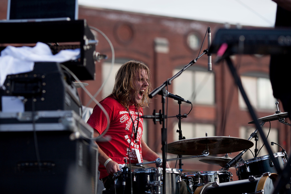 Drummer Brandon Wade performs with Des Moines based band MINT at the NewBo Music Fest in downtown Cedar Rapids on Saturday, August 8, 2015. (Rebecca F. Miller/Freelance for the Gazette)
