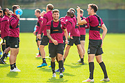 Jamie Brandon (#25) and Andrew Irving (#40) of Heart of Midlothian FC are in good spirits during training at The Oriam Sports Performance Centre, Heriot Watt University, Edinburgh, Scotland on 24 September 2019, ahead of the Betfred Scottish Football League Cup quarter-final match against Aberdeen. Picture by Malcolm Mackenzie