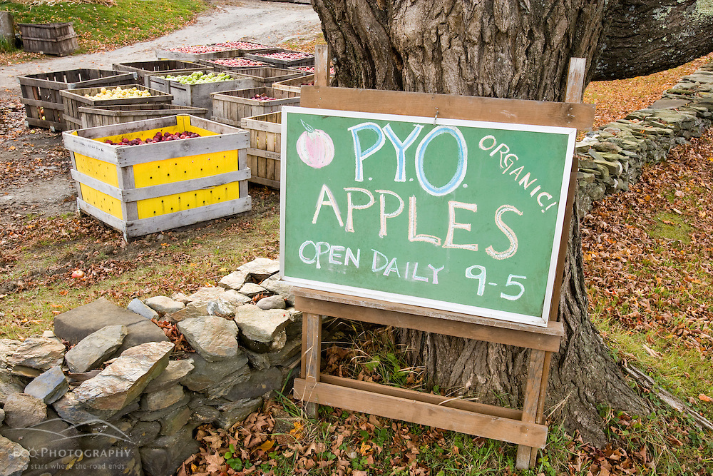 Pick your own apples sign at Miller Orchards in East Dummerston, Vermont.  Connecticut River Valley.