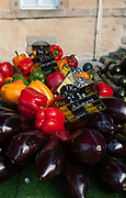 """Rennes, FRANCE. General View GV. Rennes weekly regional market. Brittany,<br /> <br /> """"Aubergine,Red,Green ad Yellow Peppers, Courgette, on display"""", sold from stalls in the open and covered market  <br /> <br /> Saturday  26/04/2014 <br /> <br /> © Peter SPURRIER, <br /> <br /> NIKON CORPORATION  NIKON D700  f7.1  1/200sec  24mm  2.8MB"""