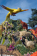 Rose Parade Float Birds Covered in Flowers, Vertical, Sunny Day, Blue Sky High dynamic range imaging (HDRI or HDR)