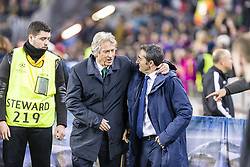 December 5, 2017 - Barcelona, Catalonia, Spain - FC Barcelona coach Ernesto '' txingurri '' Valverde and Sporting CP coach Jorge Jesus during the match between FC Barcelona - Sporting CP, for the group stage, round 6 of the Champions League, held at Camp Nou Stadium on 5th December 2017 in Barcelona, Spain. (Credit Image: © NurPhoto via ZUMA Press)
