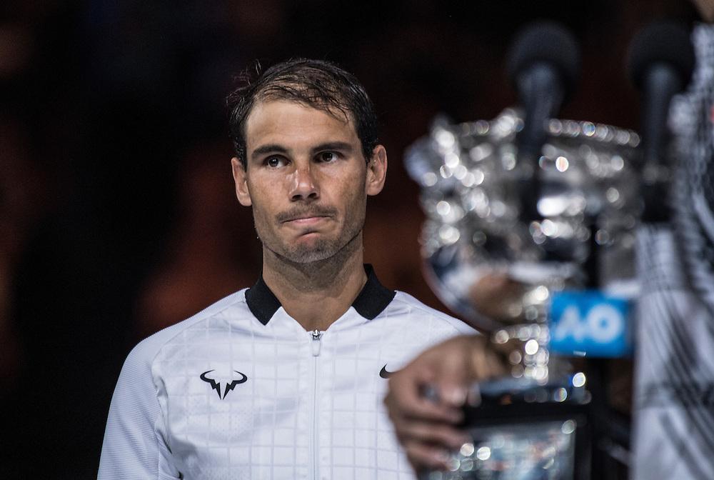 Rafael Nadal of Spain after the men's final on day fourteen of the 2017 Australian Open at Melbourne Park on January 29, 2017 in Melbourne, Australia.<br /> (Ben Solomon/Tennis Australia)