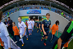 ASTANA, KAZAKHSTAN - Sunday, September 17, 2017: Kazakhstan's Yekaterina Babshuk and Wales' Gemma Evans before the FIFA Women's World Cup 2019 Qualifying Round Group 1 match between Kazakhstan and Wales at the Astana Arena. (Pic by David Rawcliffe/Propaganda)