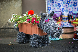 © Licensed to London News Pictures. 26/06/2015. Settle, UK. Picture shows a dog made from flower pots at Settle flower pot festival. The market town of Settle in the Yorkshire Dales is set to go flower pot mad over the weekend with the second Flower Pot Festival taking place. Locals in the town use the flower pots to make men, snakes, dogs, spiders & even a darlek.  Photo credit : Andrew McCaren/LNP