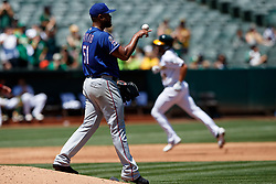 OAKLAND, CA - JULY 28:  Marcus Semien #10 of the Oakland Athletics rounds the bases after hitting a home run off of Pedro Payano #51 of the Texas Rangers during the third inning at the RingCentral Coliseum on July 28, 2019 in Oakland, California. (Photo by Jason O. Watson/Getty Images) *** Local Caption *** Marcus Semien; Pedro Payano