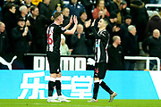 Goal scorer Miguel Almiron (#24) of Newcastle United celebrates with Sean Longstaff (#36) of Newcastle Unitedfollowing the Premier League match between Newcastle United and Crystal Palace at St. James's Park, Newcastle, England on 21 December 2019.