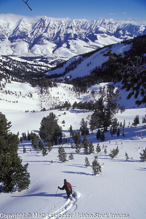 Idaho, near Sun Valley, winter.  Back country skier.