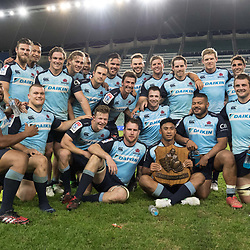 Waratahs celebrate their victory during the super rugby match between Waratahs and the Rebels Allianz Stadium 21 May 2017(Photo by Mario Facchini -Steve Haag Sports)