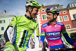 16.04.2013, Hauptplatz, Lienz, AUT, Giro del Trentino, Etappe 1, Lienz nach Lienz, im Bild Ivan Basso (Cannondale Pro Cycling), Michele Scarponi (Lampre-Merida) // during stage 1, Lienz to Lienz of the Giro del Trentino at the Hauptplatz, Lienz, Austria on 2013/04/16. EXPA Pictures © 2013, PhotoCredit: EXPA/ Johann Groder