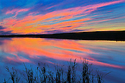 Sunset reflected in pond<br /> Viscount<br /> Saskatchewan<br /> Canada