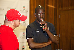CHARLOTTE, USA - Friday, August 1, 2014: Jon Wilson interviews Liverpool's Mamadou Sakho at the Whisky River bar on day twelve of the club's USA Tour. (Pic by David Rawcliffe/Propaganda)