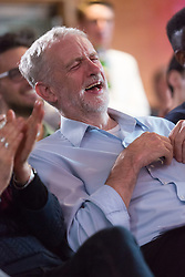© Licensed to London News Pictures. 01/09/2015. London, UK. Jeremy Corbyn laughing at speeches at the Arcola Theatre in Dalston, east London this evening, where he launched his Vision for the future of the arts. Photo credit : Vickie Flores/LNP