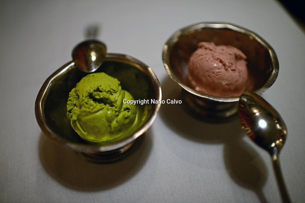 Green tea and azuki ice cream at Nanbankan yakitori bar and restaurant, Los Angeles, California.