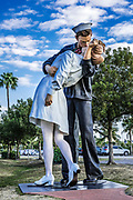 Unconditional Surrender sculpture at the Sarasota bay waterfront, Florida, USA.