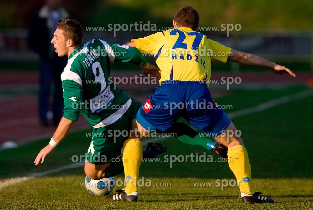 Agim Ibraimi of Olimpija vs Damir Hadzic at football match of 16th Round of First Slovenian League between NK Olimpija and Luka Koper, on October 31, 2009, in ZAK, Ljubljana, Slovenia.  Koper won 1:0. (Photo by Vid Ponikvar / Sportida)
