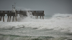 September 10, 2017 - Lake Worth, Florida, U.S. - Waves batter William O. Lockhart Pier in Lake Worth, Fla., as the first tropical storm-strength winds of Hurricane Irma pass over central Palm Beach County on Sunday, September 10, 2017. (Credit Image: © Thomas Cordy/The Palm Beach Post via ZUMA Wire)