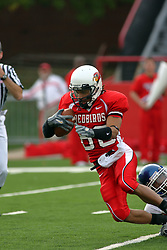 13 October 2007: Jason Horton gets stopped with a lower leg wrap. The Indiana State Sycamores were jacked 69-17 by the Illinois State Redbirds at Hancock Stadium on the campus of Illinois State University in Normal Illinois.